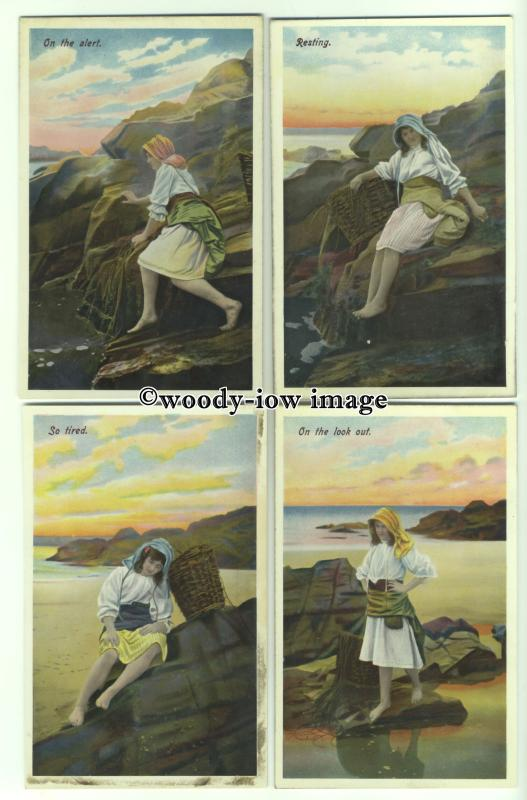 su2554 - 4 postcards of Girl on the beach and rocks
