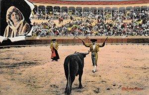 Very Rare Vintage 1930s Mexican Banderillas Bull Fighting Postcard, Tarjeta