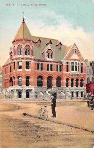 City Hall Bicycle Man Boise Idaho 1910c postcard