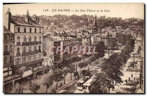 Old Postcard Le Havre La Rue Thiers And The Tramway Riviera