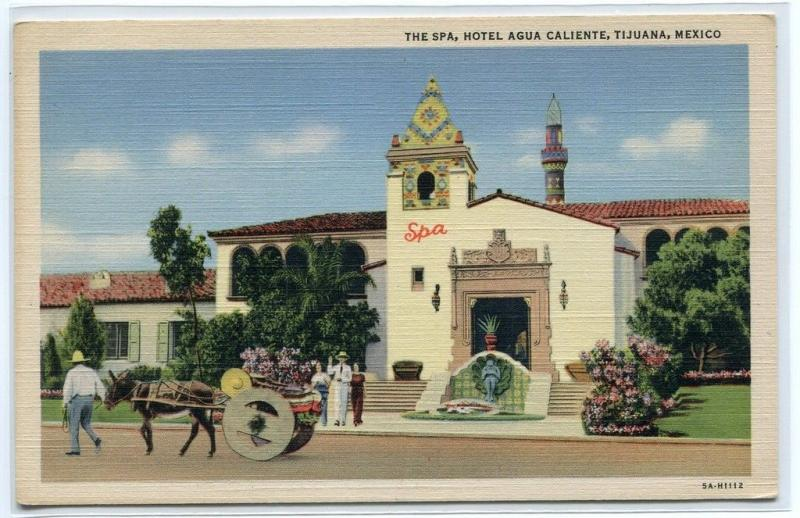 The Spa Hotel Agua Caliente Tijuana Mexico linen postcard