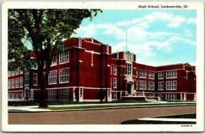 1930s Jacksonville, Illinois Postcard HIGH SCHOOL Building Street View Curteich