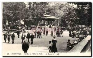 Old Postcard Grenoble Garden I & # 34hotel City Concert