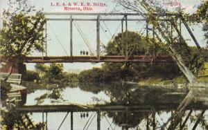 E74/ Minerva Ohio Postcard Carroll County c1910 LEA&W Railroad Bridge 4