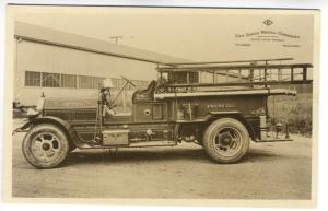 South Passadena CA Fire Truck Engine 1 Kay Steel Wheel RPPC Real Photo Postcard