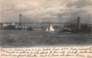 Williamsburg Bridge, New York City, Early Postcard, Used in 1905