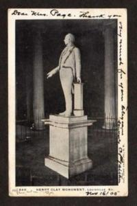 LOUISVILLE KENTUCKY KY Henry Clay Monument Postcard OLD