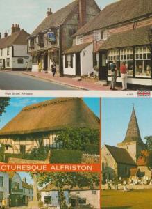 Alfriston 3x Mint Postcard s Incl AA Sign At Hotel & Village Shop