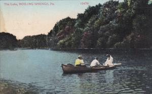 The Lake, Man with ladies on row boat, BOILING SPRINGS, Pennsylvania, PU-1910