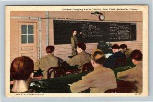 Belleville IL-Illinois, Students Study Radio Circuits Scott Field Linen Postcard
