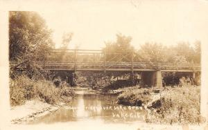 Lake City Iowa~Wagon Truss Bridge Over Lake Creek~1914 Real Photo Postcard~RPPC