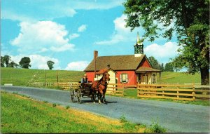 Postcard PA Pennsylvania Lancaster Amish Country Little Red Schoolhouse 1 Room