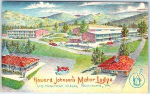 ROANOKE, Virginia  VA   Roadside  HOWARD JOHNSON'S Motor Lodge  c1950s  Postcard