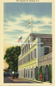 St. Thomas, V.I., The Capitol, Flags of US and Virgin Islands  (1940s)