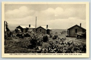 New Carlisle PQ~1940s Cars Parked Between Garden & Annett's Hotel~Log Cabins~PC