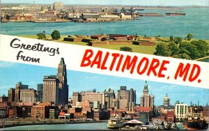 Maryland Baltimore Greetings Showing Inner Harbor and Fort McHenry