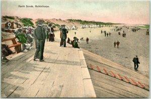 1910s MABLETHORPE, Lincolnshire England UK Postcard North Sands Beach Scene