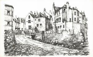 Art Postcard, Robin Hood's Bay, Dock End, North Yorkshire by John Freeman 53Q