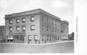 1908 HILLSBORO TEXAS Wear Hotel Roadside Kansas City Postcard 2701