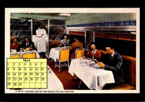 1987 Calendar Series March Dining Car Of The Santa Fe's El Capitan