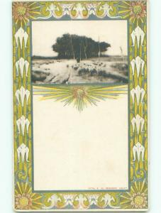 Unused Pre-1907 foreign FLOCK OF SHEEP WITH DECORATIVE BORDER J4254