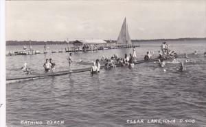 Iowa Clear Lake Bathing Beach Scene 1950 Real Photo