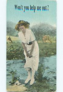 Divided-Back PRETTY WOMAN Risque Interest Postcard AA8604