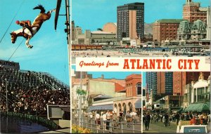 Postcard NJ New Jersey Atlantic City Greetings 4 Scene Banner Diving Horse
