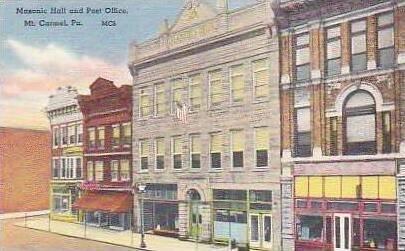 Pennsylvania Mt Carmel Masonic Hall and Post Office