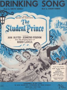 Drinking Song The Student Prince 1950s Sheet Music