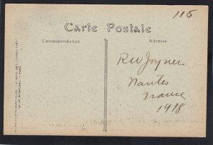 P1679 vintage 1918 autun-le theatre et hotel de ville france, bulls and carts