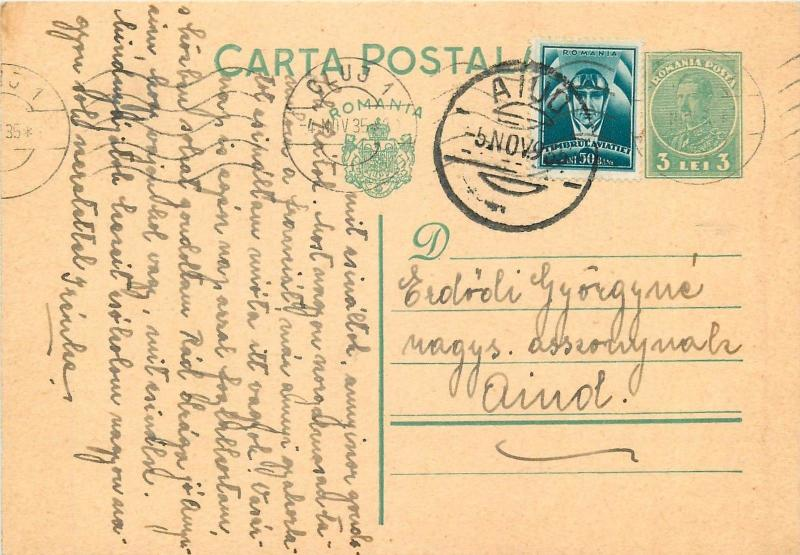 Romania 1935 Carol II green 3 Lei uprated postal stationery postcard