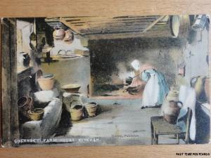 Channel Islands GUERNSEY Old Farm House Kitchen - Old Postcard