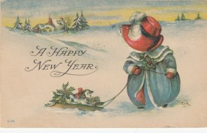 NEW YEAR, 1912 ; MDULK , Sunbonnet Girl & sled