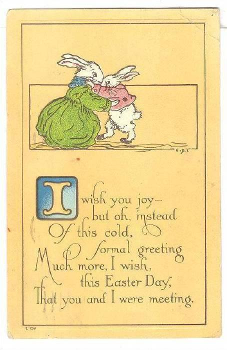 Mother Rabbit hugging young rabbit, Poem, PU-1920