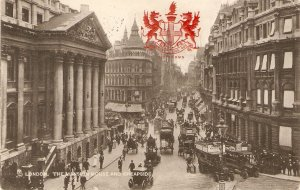 London.tThe Mansion House and Cheapside. Horse-cars  Tuck Heraldic View PC