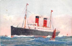 White Star Line Cunard Ship Post Card, Old Vintage Antique Postcard Lucania U...
