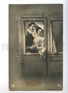 240024 FASHION Lovers in TRAIN Vintage PHOTO postcard