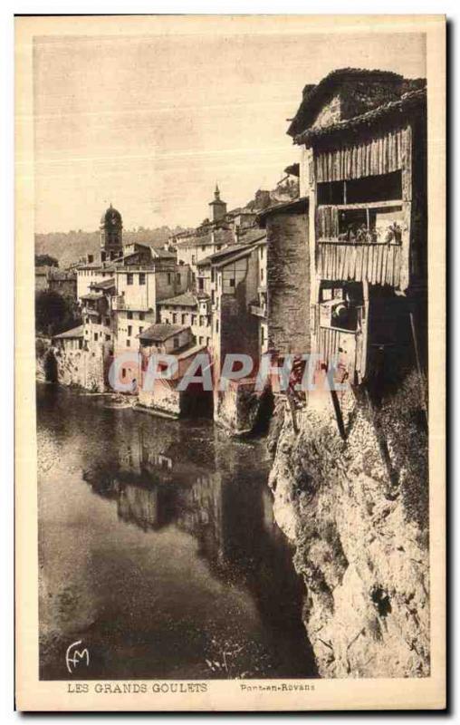 Postcard Old Bridge Royans suspended houses