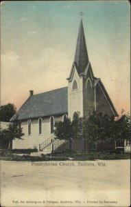 Baldwin WI Presbyterian Church c1910 Postcard