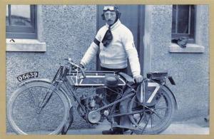 Nostalgia Postcard 1911 Junior TT Winner Percy Evans, Humber Motorcycle NS19