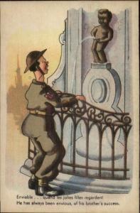 Bathroom Humor Manneken-Pis Peeing Statue & Amused Tourists Postcard #7