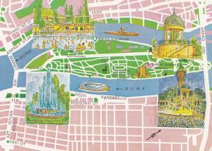 Margit Sziget Margaret Island Hungarian Megye Map Postcard