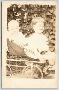RPPC Richard Haslett, Jr & Herman Young Share A Baby Carriage~Climbing Ivy Wall