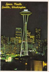 Washington Seattle The Space Needle At Night