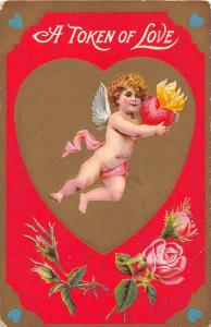 C26/ Valentine's Day Love Holiday Postcard c1910 Cupid Heart on Fire 14