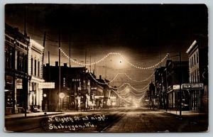 Sheboygan Wisconsin~North 8th Street Night Lights~Palm Garden~Bank~1910 RPPC