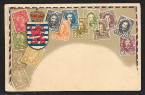 LUXEMBOURG Stamps on Postcard Embossed Shield Unused c1905