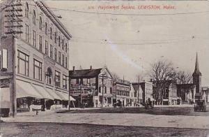 Maine Lewiston Haymarket Square 1908