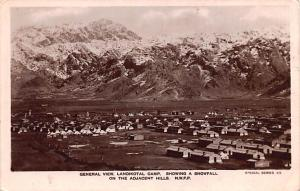 Pakistan Old Vintage Antique Post Card Landikotal Camp Showing a Snowfall Wri...